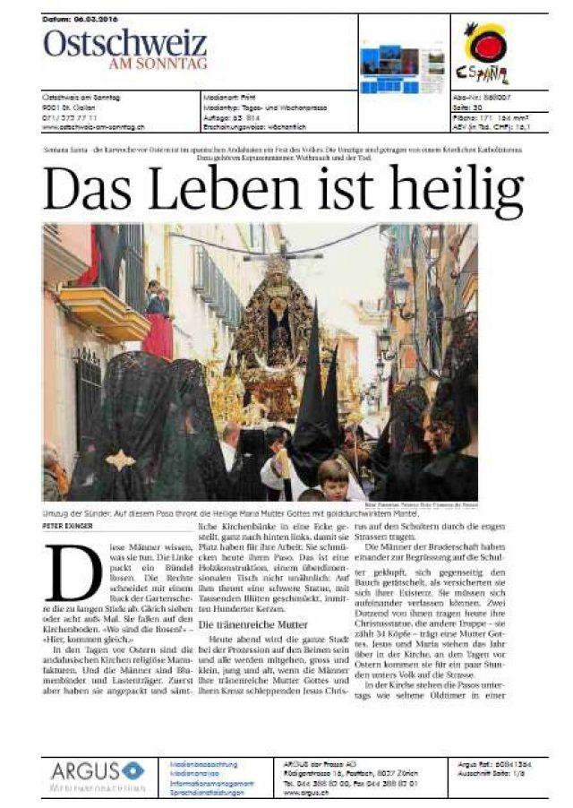 Caminos de Pasión en dominical suizo: Ostschweiz am sonntag